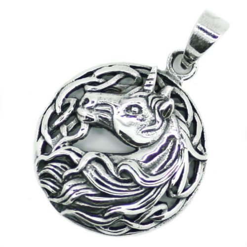 Mythical Unicorn Magical Horse Silver Pendant (P031)